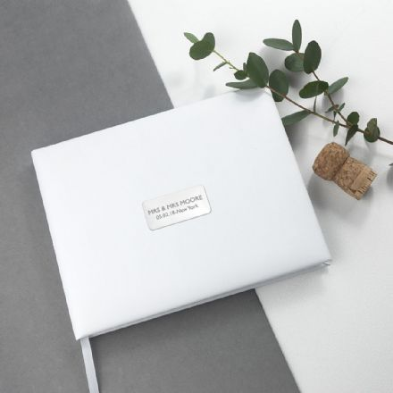 Personalised White Leather Wedding Guest Book - Medium